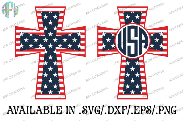 Patriotic Cross - Monogram - SVG, DXF, EPS