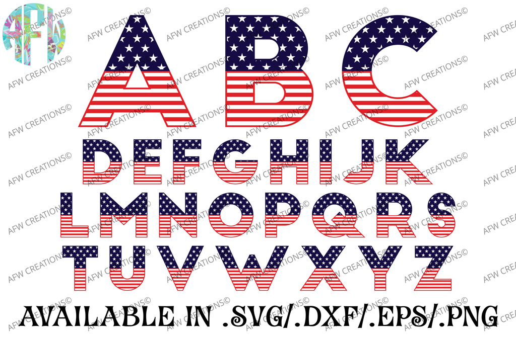 Patriotic Pattern Letters - SVG, DXF, EPS