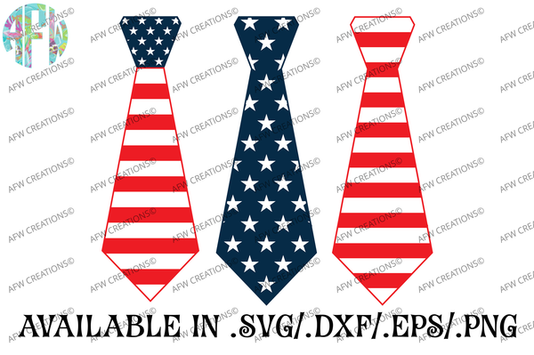 Patriotic Ties - SVG, DXF, EPS
