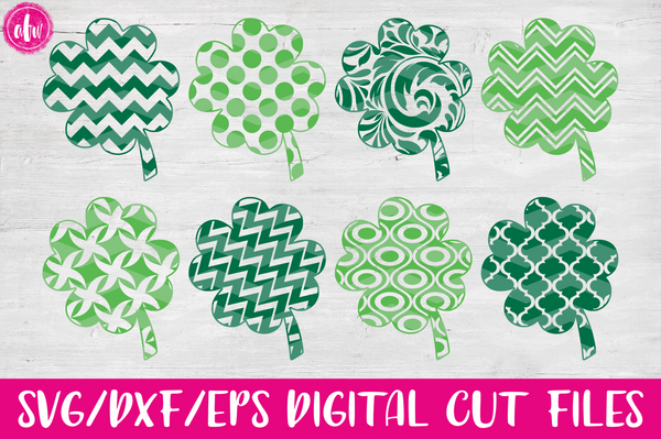 Patterned Clovers - SVG, DXF, EPS