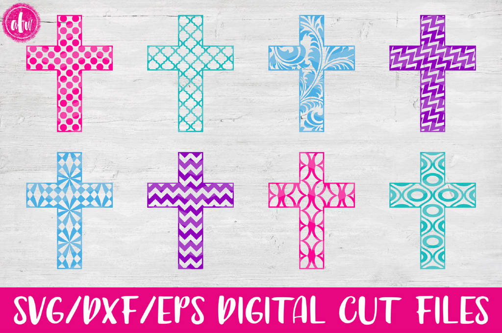 Patterned Cross - SVG, DXF, EPS