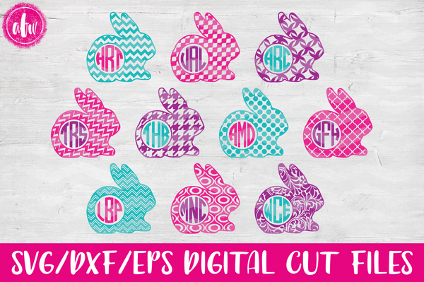 Monogram Pattern Bunny Set - SVG, DXF, EPS