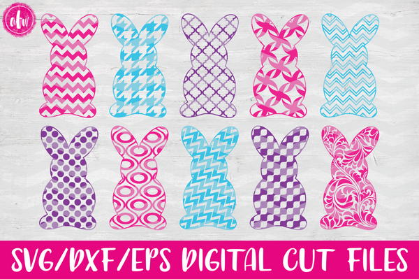Patterned Bunny Set - SVG, DXF, EPS