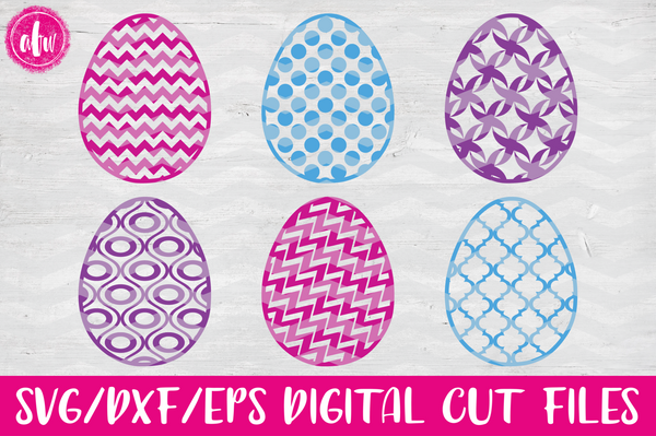Pattern Easter Eggs Set #1 - SVG, DXF, EPS
