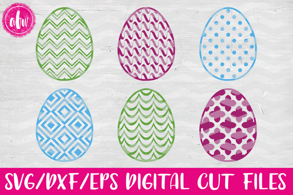 Pattern Easter Eggs Set #2 - SVG, DXF, EPS