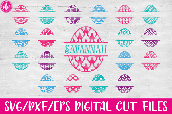 Pattern Split Easter Eggs Bundle (40) - SVG, DXF, EPS
