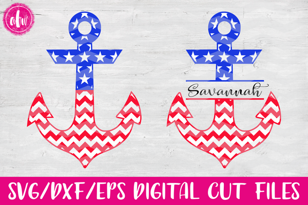 Patriotic Anchors - Chevron Split - SVG, DXF, EPS