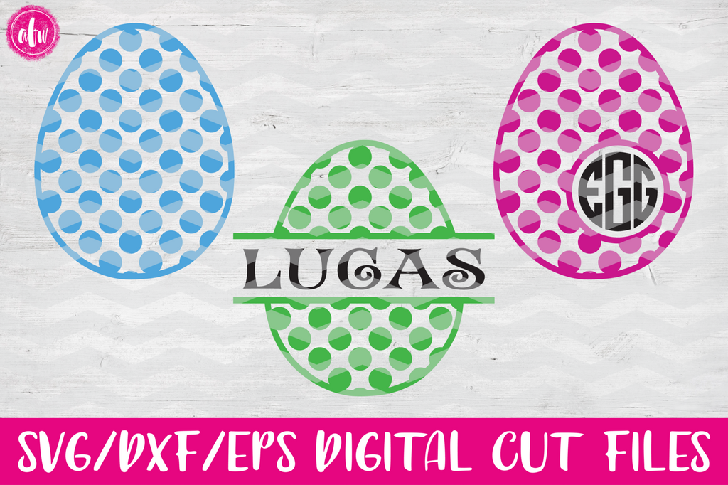 Polka Dot Pattern Easter Eggs - SVG, DXF, EPS