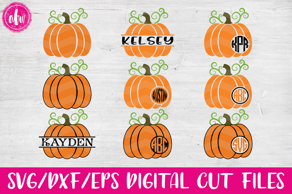 Monogram & Split Pumpkins - SVG, DXF, EPS