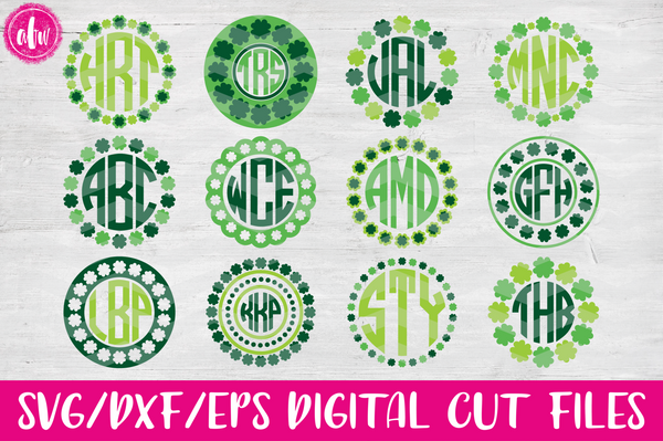 Shamrock Monogram Frames Bundle - SVG, DXF, EPS