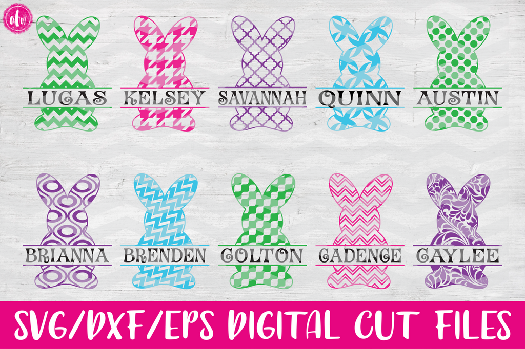 Split Patterned Bunnies - SVG, DXF, EPS