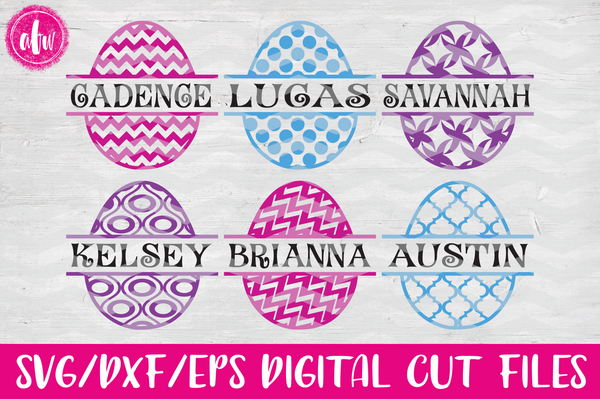 Split Patterned Easter Eggs #1 - SVG, DXF, EPS
