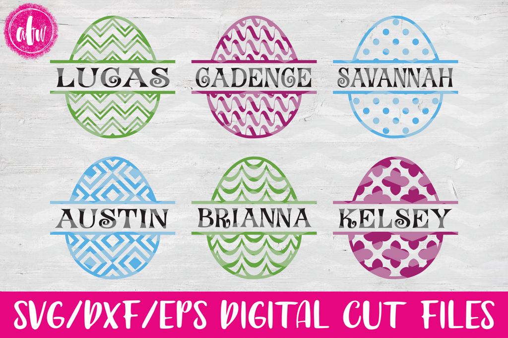 Split Easter Eggs #1 - SVG, DXF, EPS