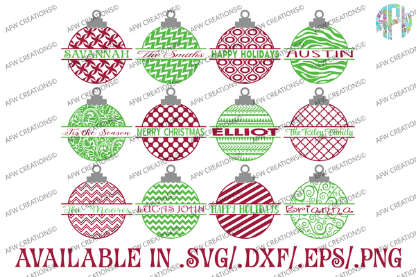 Split Christmas Ornament - SVG, DXF, EPS