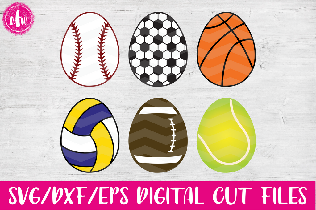 Sports Easter Eggs - SVG, DXF, EPS