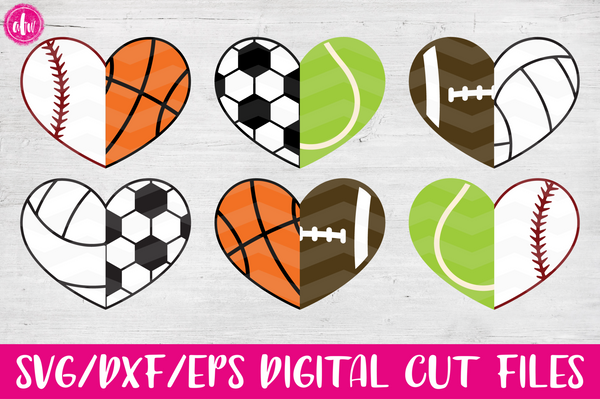 Half Sports Hearts - SVG, DXF, EPS