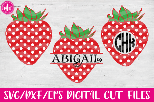 Split & Monogram Strawberry - SVG, DXF, EPS
