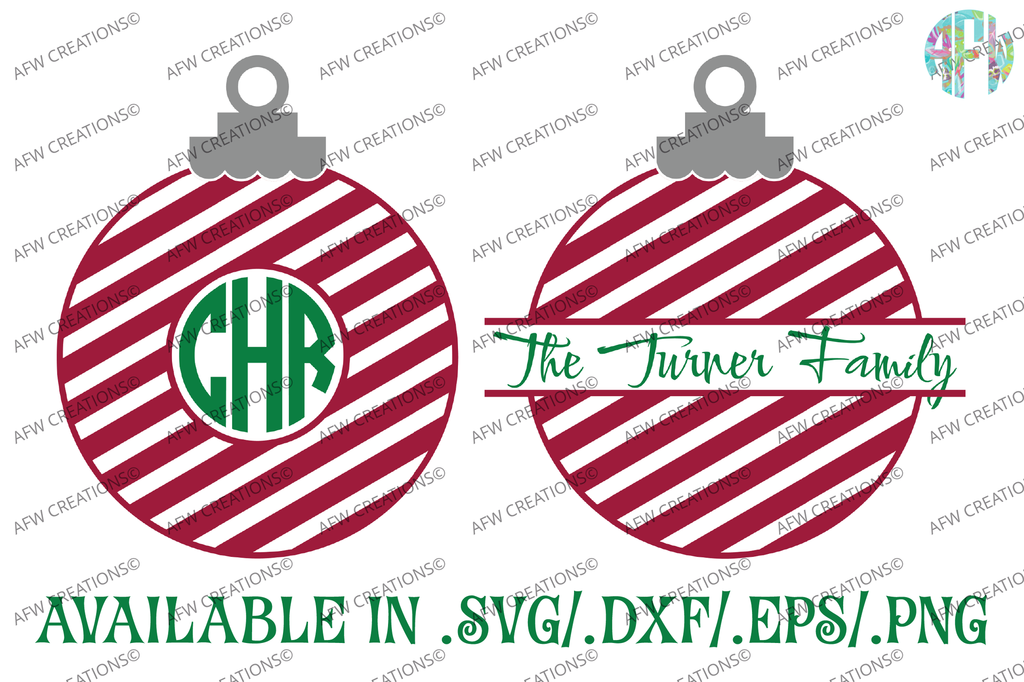 Striped Christmas Ornaments Svg Dxf Eps Afw Designs
