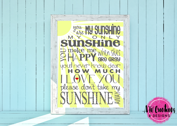 You Are My Sunshine - SVG, DXF, EPS