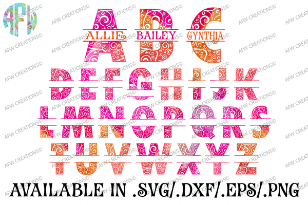Alphabet & Split Letter Big Bundle - SVG, DXF, EPS