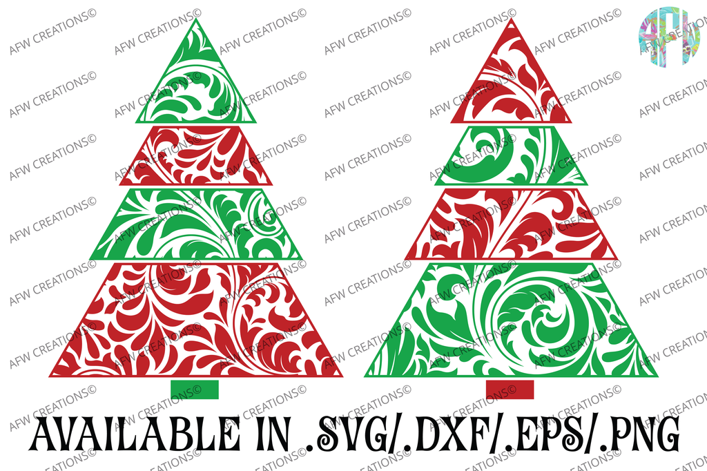 Swirl Christmas Trees - SVG, DXF, EPS