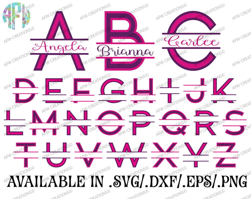 Split Two Color Letters - SVG, DXF, EPS