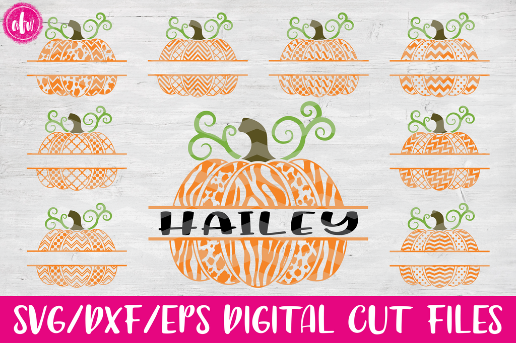 2 Pattern Split Pumpkins - SVG, DXF, EPS