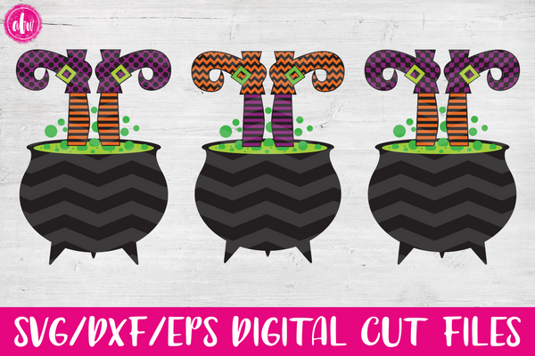 Witch Legs in Cauldron Bundle - SVG, DXF, EPS