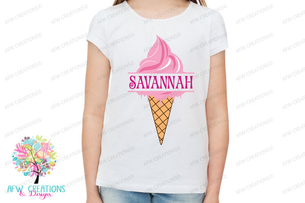 Split & Monogram Ice Cream Cone - SVG, DXF, EPS