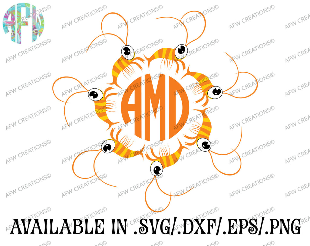 Shrimp Monogram Frame - SVG, DXF, EPS