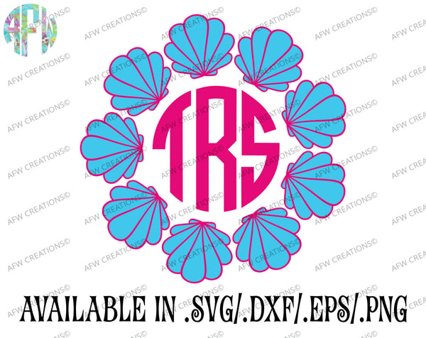 Seashell Monogram Frames - SVG, DXF, EPS