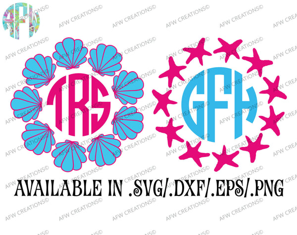 Starfish & Seashell Monogram Frames - SVG, DXF, EPS