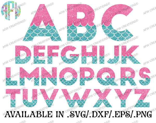 Mermaid Letters - SVG, DXF, EPS