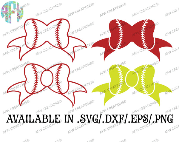 Baseball - Softball Bows - SVG, DXF, EPS