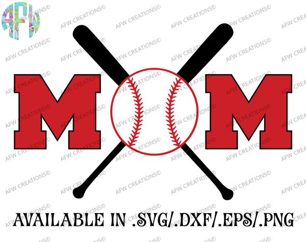 Baseball - Softball Mom - SVG, DXF, EPS