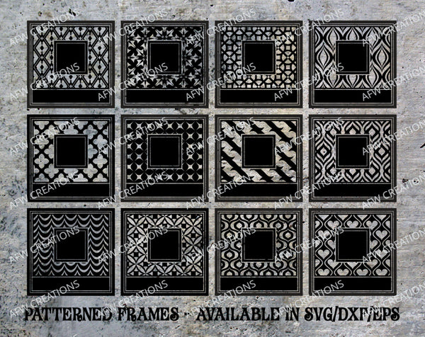 54 Patterned Frames - SVG, DXF, EPS
