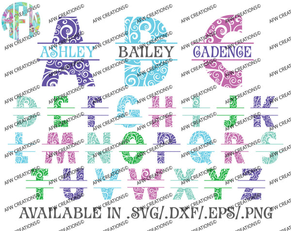 Split Swirl Ornament Letters - SVG, DXF, EPS