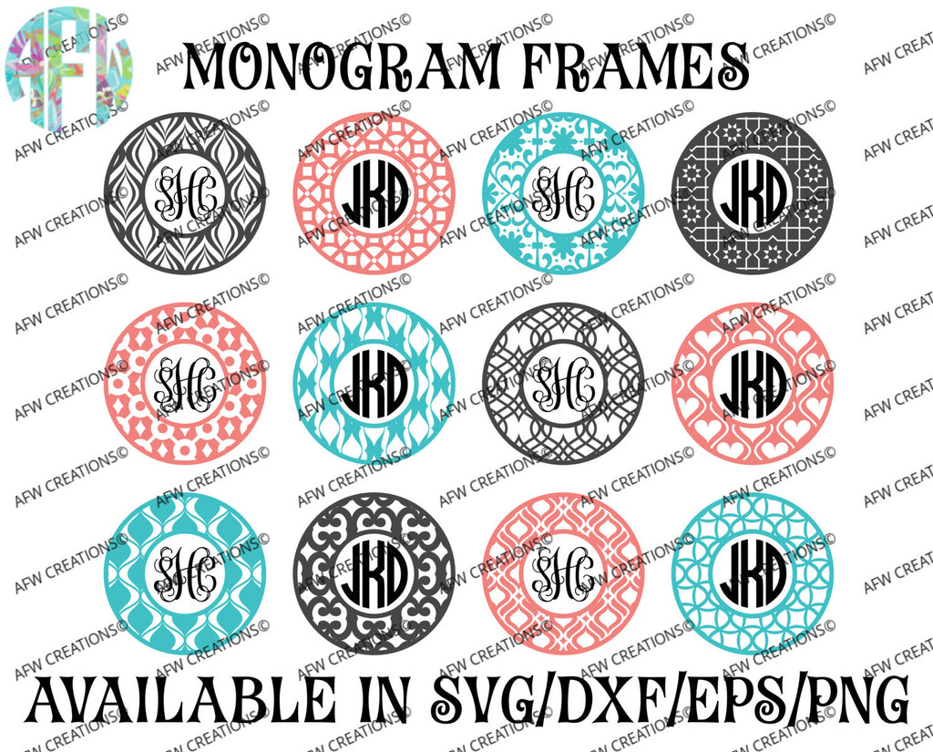 Monogram Frames Bundle #1 - SVG, DXF, EPS