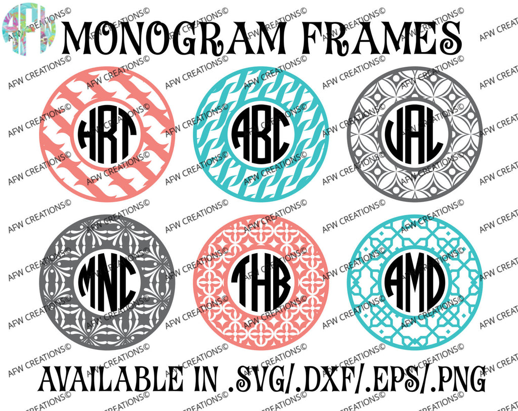 Monogram Frames Bundle #4 - SVG, DXF, EPS