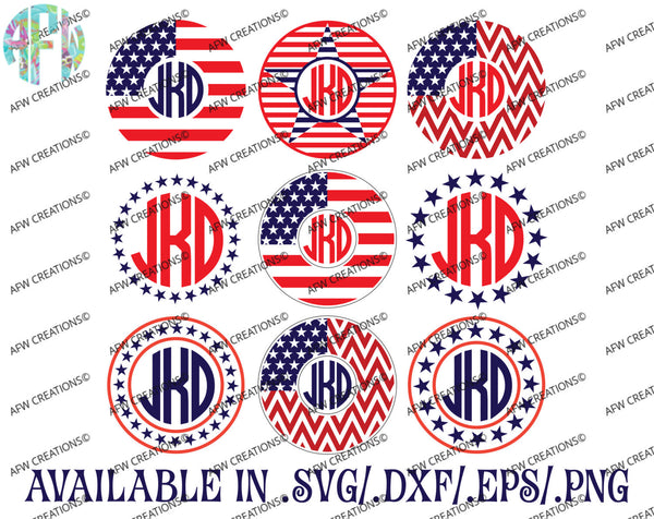 Patriotic Circle Monogram Frames - SVG, DXF, EPS