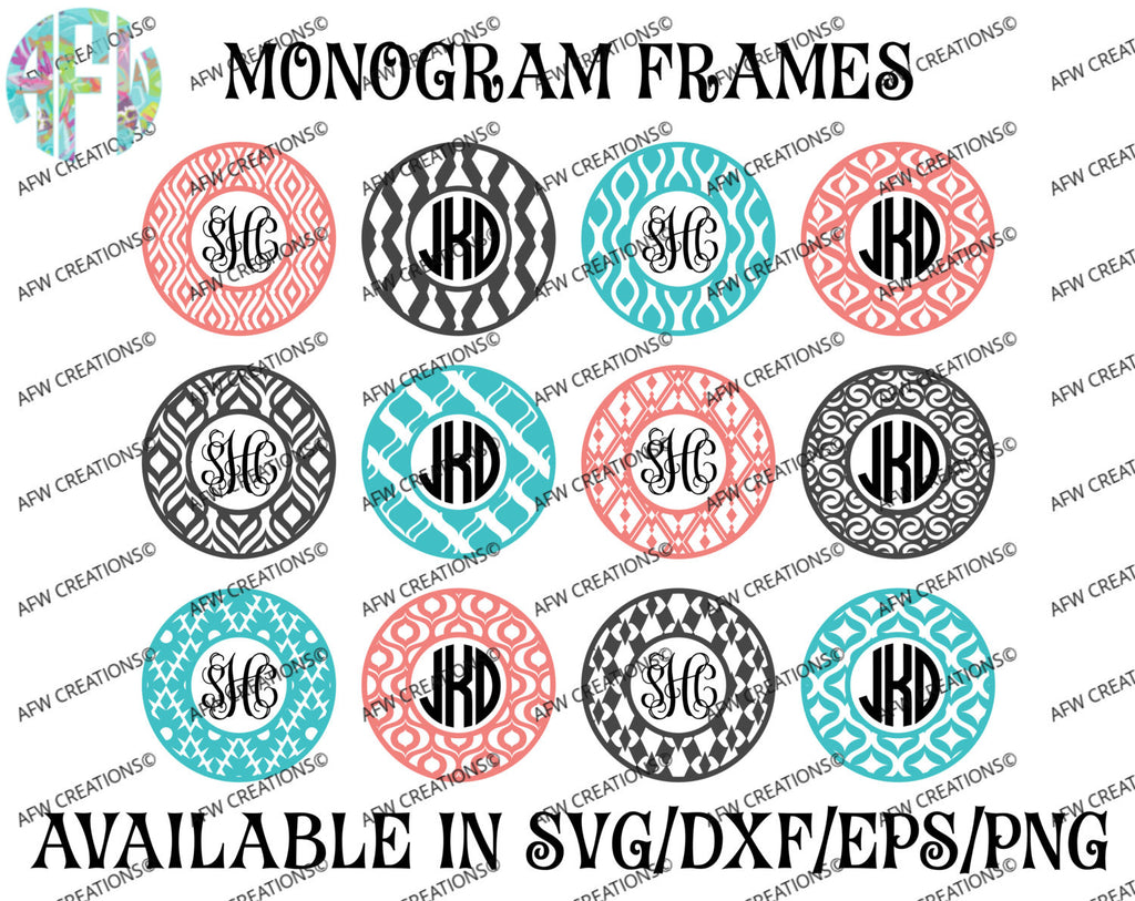 Monogram Frames Bundle #3 - SVG, DXF, EPS