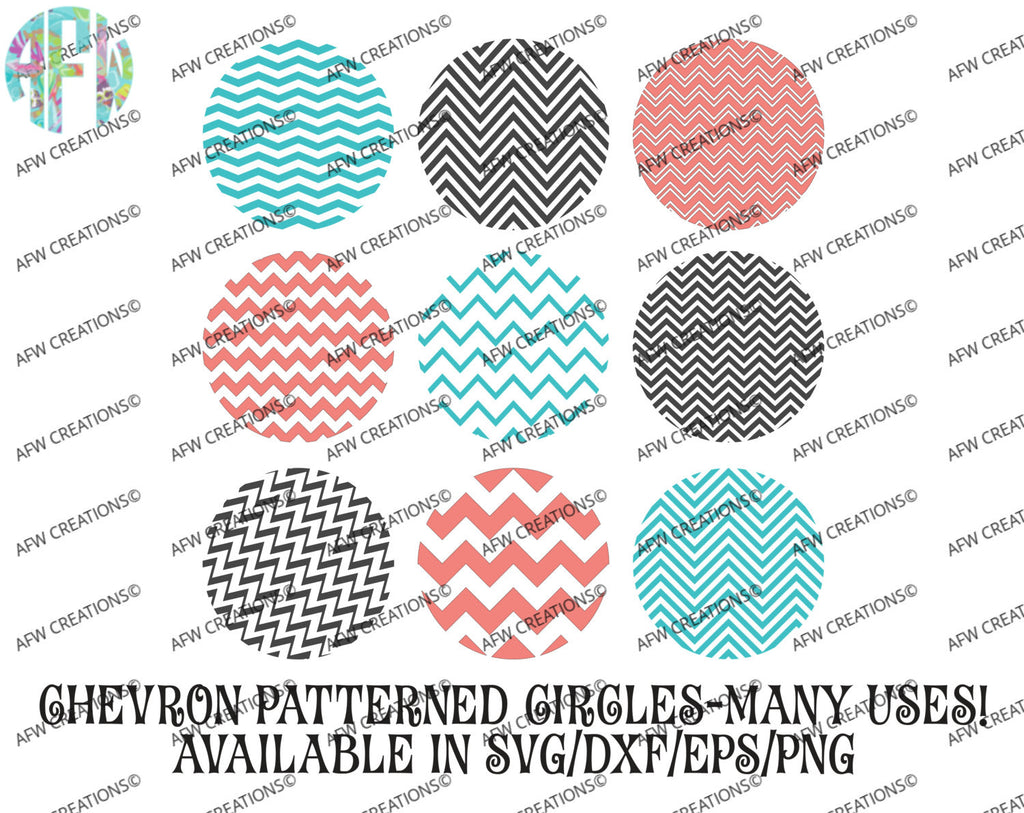 Chevron Pattern Circle No Border - SVG, DXF, EPS