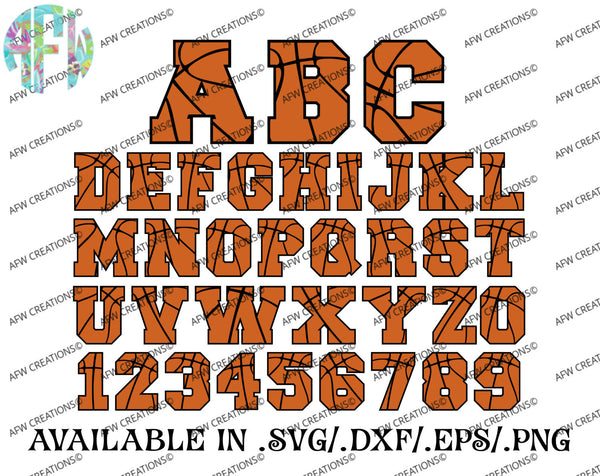 Basketball Letters & Numbers - SVG, DXF, EPS