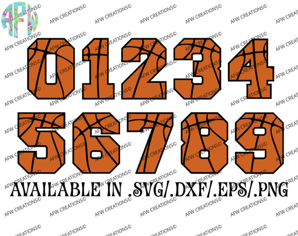 Basketball Numbers - SVG, DXF, EPS