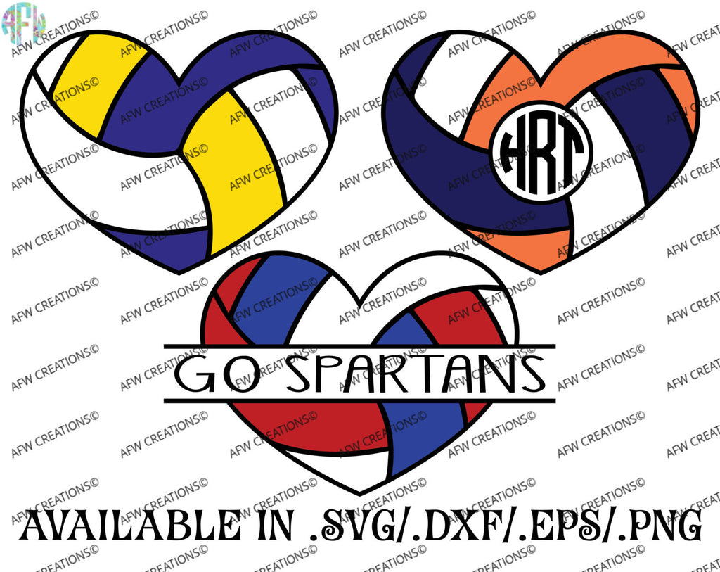 Split & Monogram Volleyball Hearts - SVG, DXF, EPS
