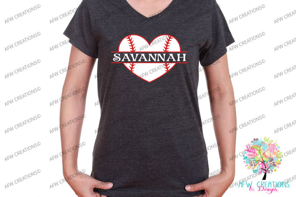 Split & Monogram Baseball Heart - SVG, DXF, EPS