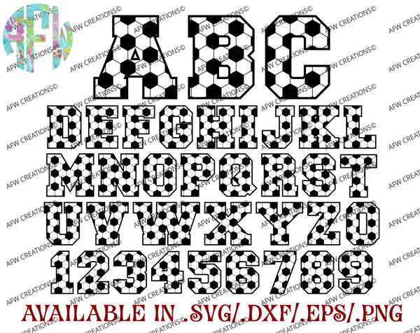 Soccer Letters & Numbers - SVG, DXF, EPS