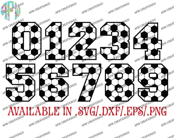Soccer Numbers - SVG, DXF, EPS