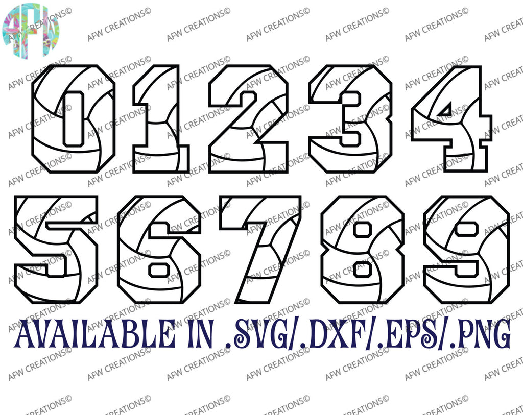 Volleyball Numbers - SVG, DXF, EPS