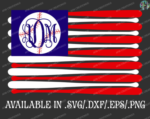 Baseball Flag Monogram - SVG, DXF, EPS